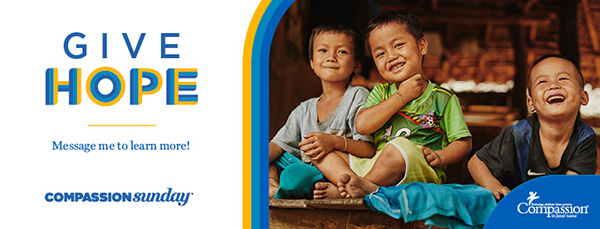 """Give Hope"" graphic image with photo of three children smiling"